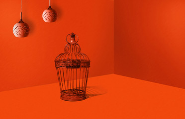 Copper, brown cage in heavy orange color. Travel concept, minimal style. An abstract theme, a modern approach to design. Arranging the office, flat.