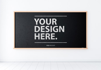 Chalkboard in White Room Mockup