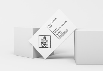 White Business Card on Blocks Mockup