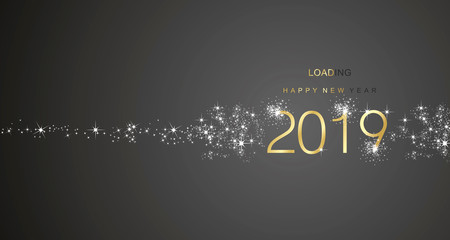 New Year 2019 greetings loading firework gold white black color vector