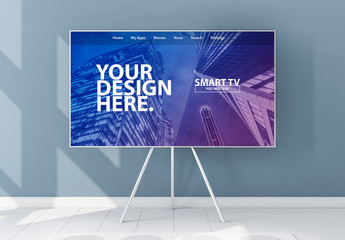 Smart TV on Stand Mockup