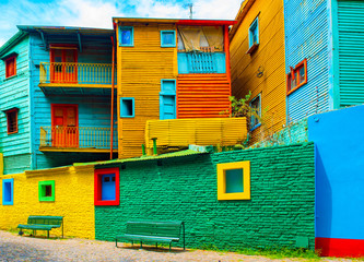 Foto op Plexiglas Buenos Aires La Boca, view of the colorful building in the city center, Buenos Aires, Argentina.
