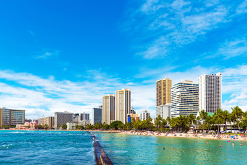 View of the city beach in Honolulu, Hawaii. Copy space for text.
