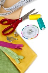 Sewing tools - scissors, buttons, sewing pins, sewing needle