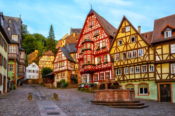 Wall Murals European Famous Place Miltenberg medieval Old Town, Bavaria, Germany