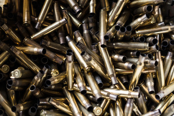 Close Up on the Pile of Bullet Shells