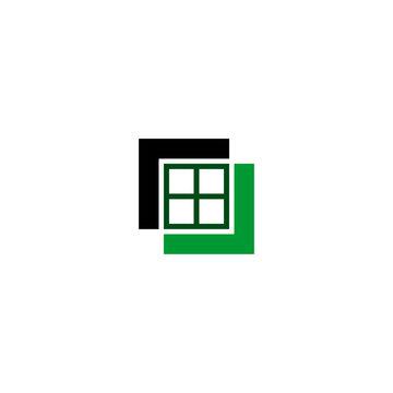 Real estate logo, window logo design, construction logo, square concept template, vector icons.