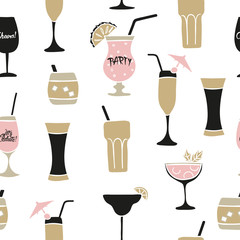 Seamless cocktails pattern. Vector alcohol background with wine, martini glasses.
