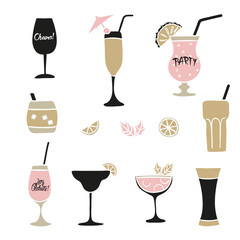 Set of hand drawn cocktails. Vector collection of alcoholic drinks.