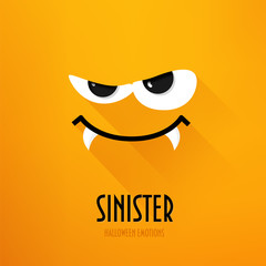Happy Halloween greeting card with sinister emotion on orange background. Flat design. Vector.
