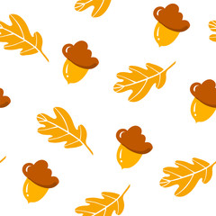 Autumn pattern with cute acorns and oak leaves on white background. Ornament for textile and wrapping. Vector.