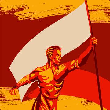 Man holding blank flag vector illustration. Political protest activism patriotism. Revolution raising The Flag