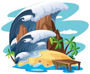 Tsunami on island scene