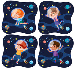 Set of kid exploring space