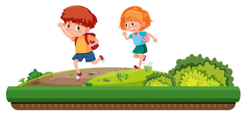 boy and girl running on the road