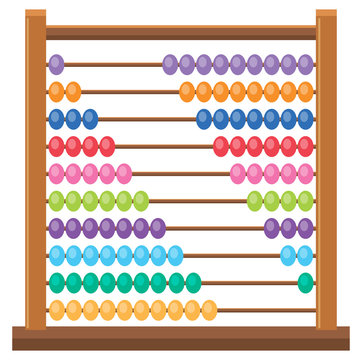 Colourful wooden abacus on white backgroud