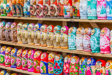 Colorful Russian Matryoshka Doll at the market, Matrioshka Babushkas Nesting dolls are the most popular souvenirs from Russia.