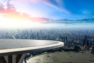 Panoramic Shanghai skyline and buildings with empty square floor platform Wall mural