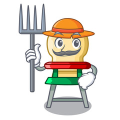 Farmer character baby eat on highchair indoors