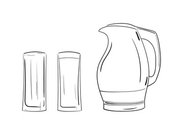 flat vector jug and two glasses, one empty and other full of water