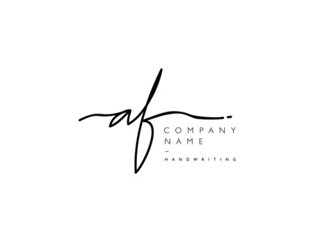 A F Initial handwriting logo