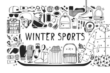 Hand drawn set with Snowboarding and 