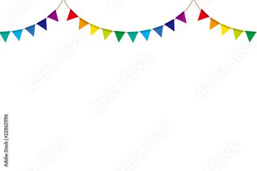 イラスト素材ボーダー柄背景 カラフルな三角旗パーティーフラッグ