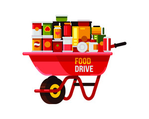 canned food drive with red wheelbarrow flat style vector illustration