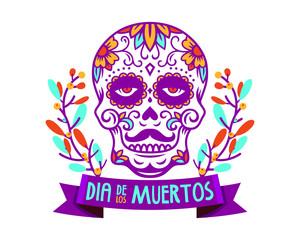 Dia de los muertos poster skull day of the dead vector illustration