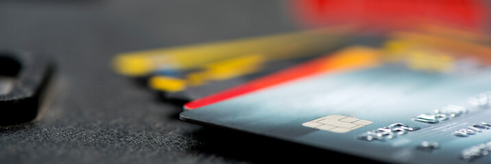 Credit and debit card. Modern spending - panoramic
