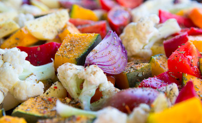 sliced vegetables autumn different colors a piece of onion seasoning spices Viennese herbs