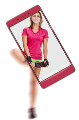 Portrait of smiling athletic woman stretching her leg, concept virtual reality of the smartphone. freezing moving objects in the camera smartphone