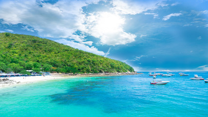 landscape view koh larn island popular tropical beach on a hot weather and fine day in pattaya city to chonburi province of Thailand