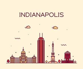 Fototapete - Indianapolis skyline Indiana, USA vector line city