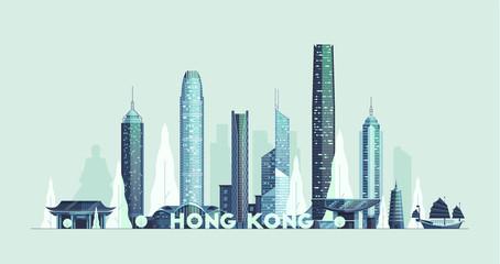Hong Kong skyline, Republic of China vector city Fotomurales