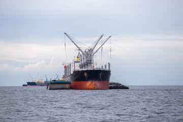 Marine cargo ship at Gulf of Thailand. Chonburi province , Thailand