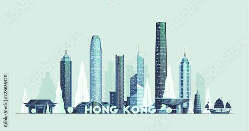 Wall mural Hong Kong skyline, Republic of China vector city