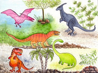 Dinosaur and palm trees, cartoon character. Illustration for children. Use printed materials, signs, items, websites, maps, posters, postcards, Drawing watercolor.