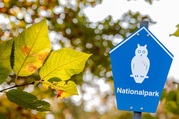 "Blue sign of a national park beside some green leaves with german lettering ""nationalpark"" means national parc"