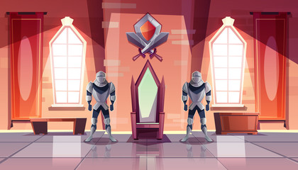 Medieval castle throne room or ballroom interior with knights in armor on both sides of kings throne and shield with crossed swords from above cartoon vector illustration. Historical museum exposition