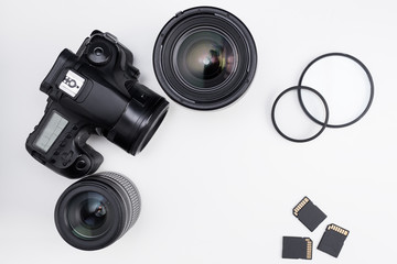 photography equipment and copy space over white