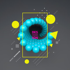 3d spheres composition. Art element in futuristic technology style. Vector illustration for web design, technology, marketing, website, business presentation.