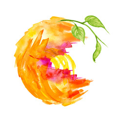 Abstract watercolor stain, blot, splash of orange paint. Abstract logo, orange, yellow. Fashionable illustration for your design, advertising. Citrus Fruit On A White Isolated Background.