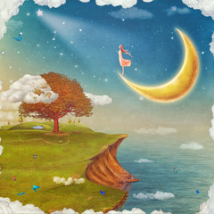 The girl  admires the night stars sky . Illustration of a fairytale cartoon  background fantastic big tree ,glade , river ,sky  in dreamland ,concept art card .