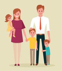 Portret of happy family. Cartoon flat style illustration on white background.
