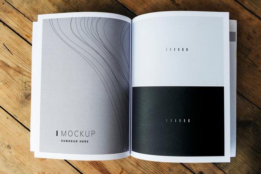 Wave texture magazine page mockup