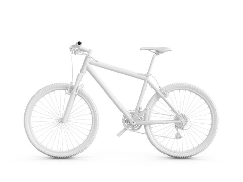 3D Rendering white bicycle isolated on white background