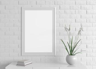 Home interior poster frame mock up on white brick wall. 3d illustration.