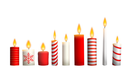 Christmas candles isolated on white background, illustration