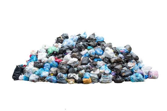 Big pile of garbage in black blue trash bags isolated on white background. Ecology concept. Pollution environment disaster